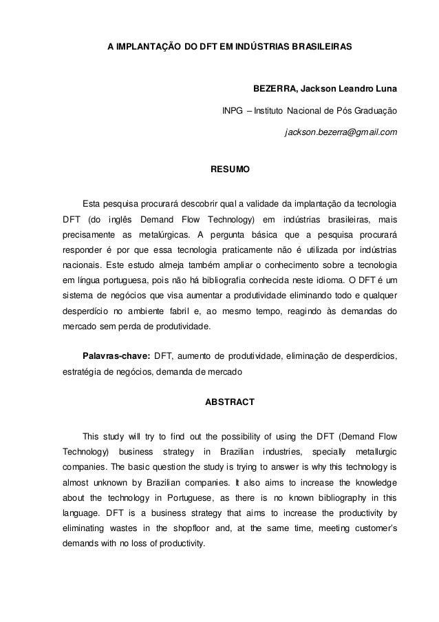 A IMPLANTAÇÃO DO DFT EM INDÚSTRIAS BRASILEIRAS BEZERRA, Jackson Leandro Luna INPG – Instituto Nacional de Pós Graduação ja...