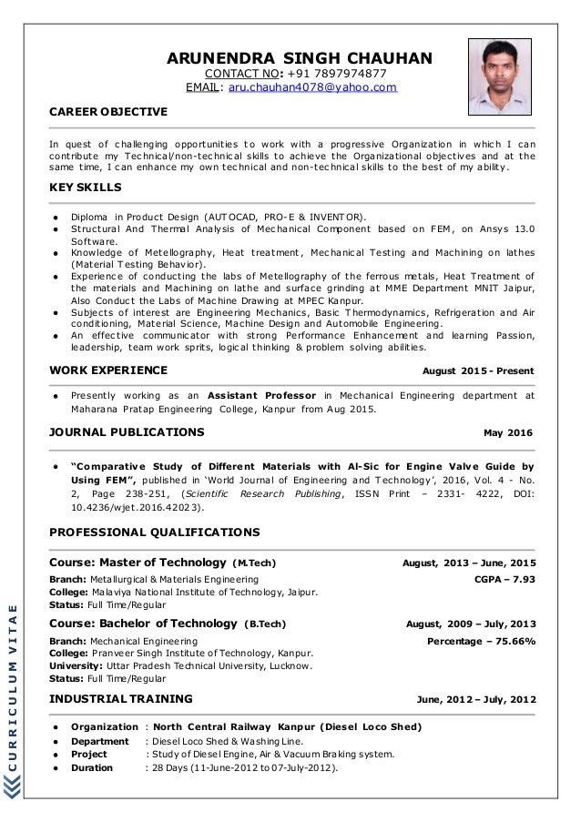 New Arunendra S Cv 2016 For Industry