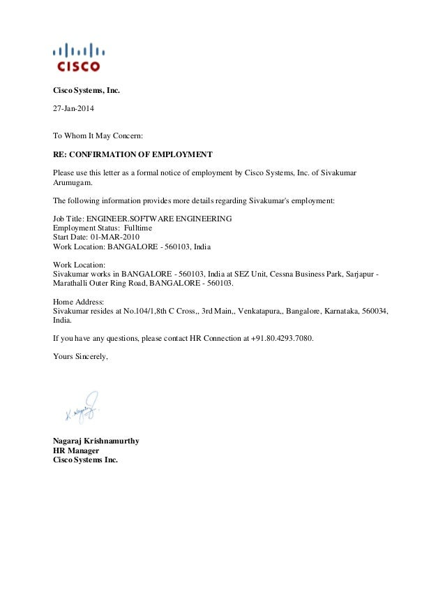 Job Letter From Employer To Embassy