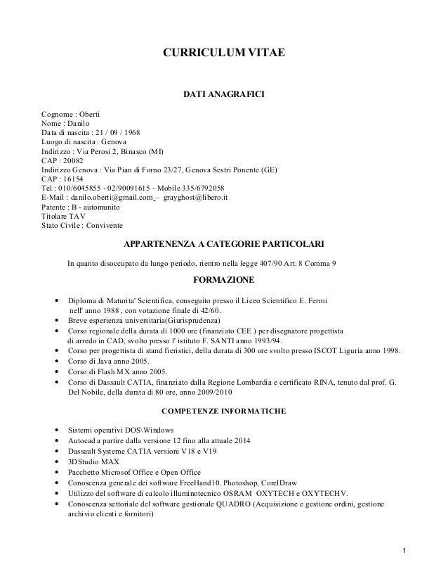 curriculum vitae con legge 407/90