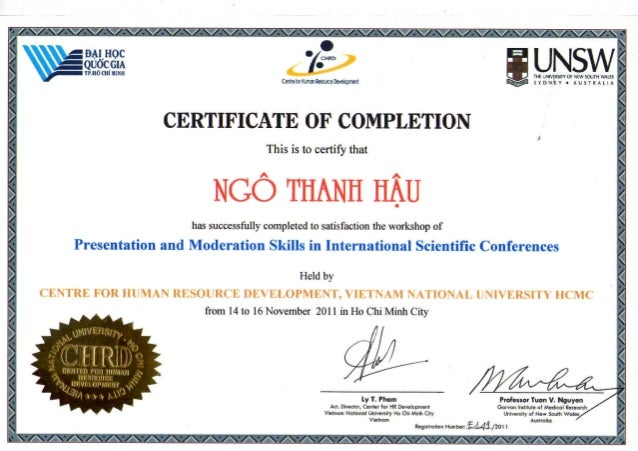 certificate of completion workshop