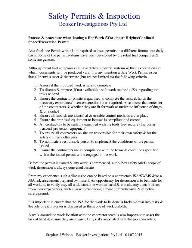permit to work procedure pdf