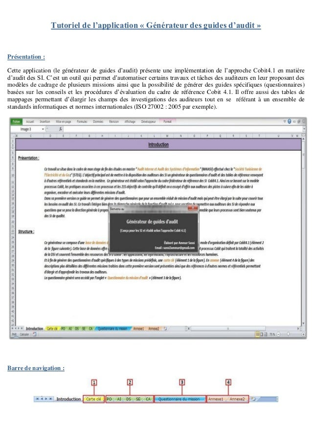 Tutoriel de l'application « Générateur des guides d'audit » Présentation : Cette application (le générateur de guides d'au...