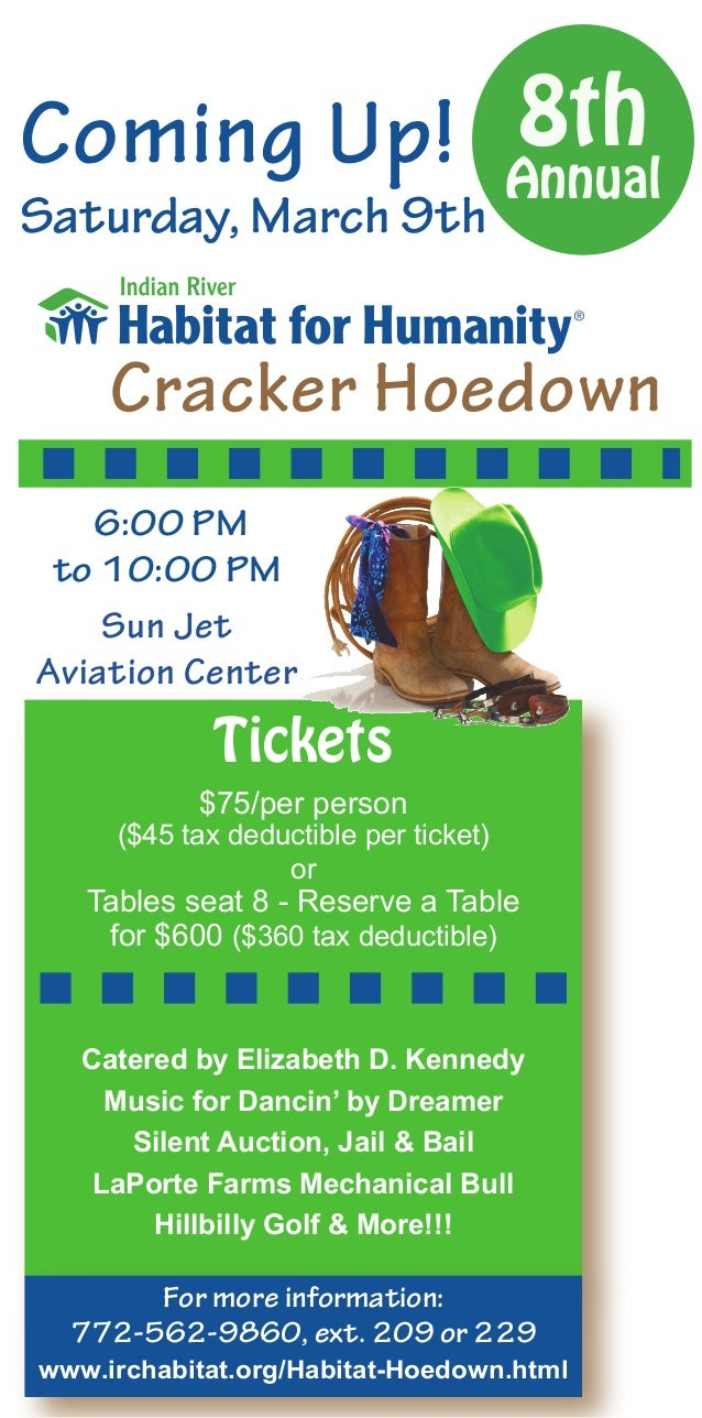 8thComing Up! AnnualSaturday, March 9th     Cracker Hoedown   6:00 PM to 10:00 PM    Sun JetAviation Center             Ti...