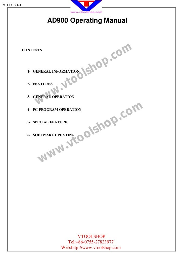 VTOOLSHOP                    AD900 Operating Manual                                                     om        CONTENTS...