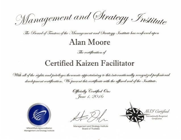 Kaizen Facilitator Certificate