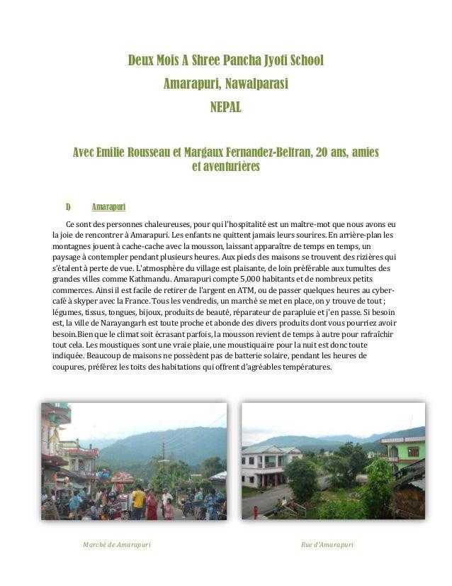 Deux Mois A Shree Pancha Jyoti School Amarapuri, Nawalparasi NEPAL Avec Emilie Rousseau et Margaux Fernandez-Beltran, 20 a...