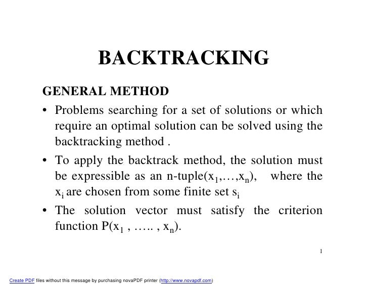 backtracking set and solution space Fall 2011 arti cial intelligence midterm exam you use a state space where each x until we nd a solution (f)(2 pt) if standard backtracking search were run.