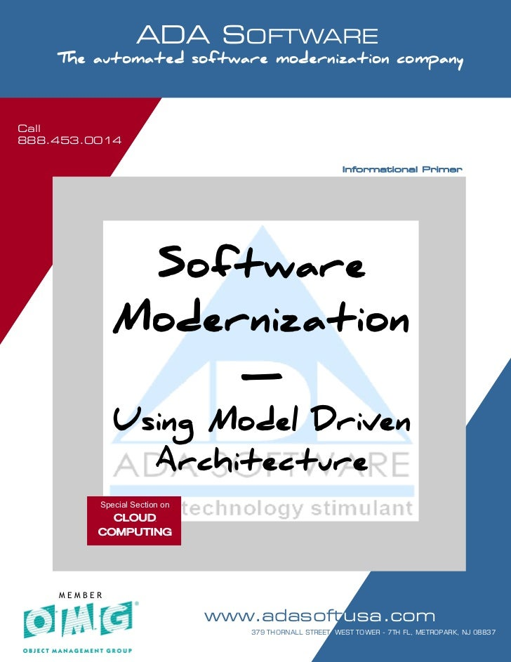 Call 888.453.0014                         ADA SOFTWARE       SOFTWARE MODERNIZATION - POWERED BY MODELING        The autom...