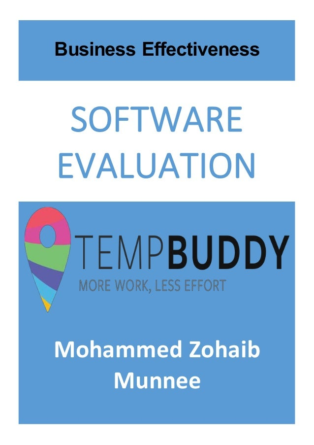 Mohammed Zohaib Munnee SOFTWARE EVALUATION Business Effectiveness