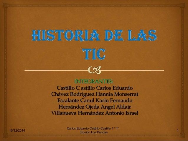 """10/12/2014 Carlos Eduardo Castillo Castillo 1° """"I"""" Equipo Los Pandas 1 INTEGRANTES:INTEGRANTES: Castillo C astillo Carlos ..."""