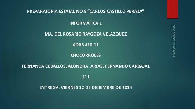 """PREPARATORIA ESTATAL NO.8 """"CARLOS CASTILLO PERAZA""""  INFORMÁTICA 1  MA. DEL ROSARIO RAYGOZA VELÁZQUEZ  ADAS #10-11  CHOCORR..."""
