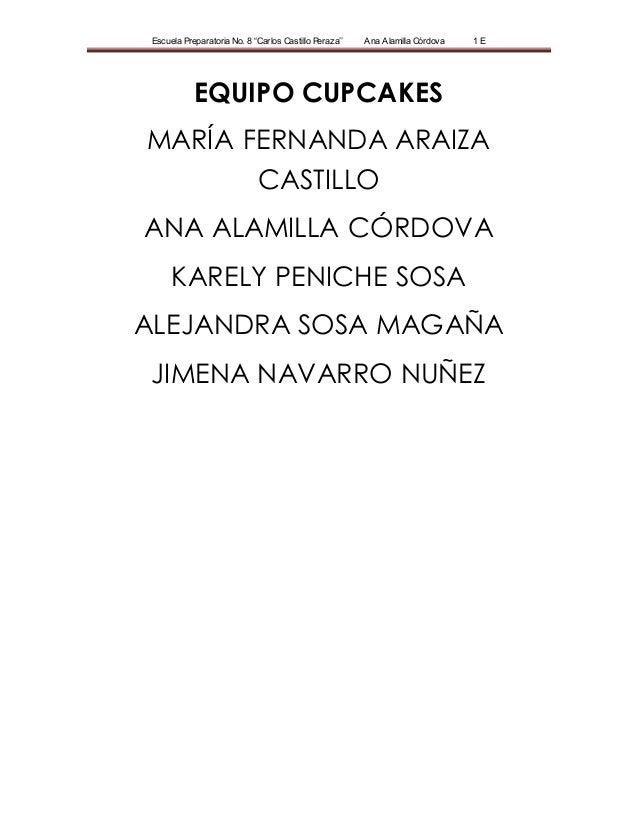 "Escuela Preparatoria No. 8 ""Carlos Castillo Peraza'' Ana Alamilla Córdova 1 E EQUIPO CUPCAKES MARÍA FERNANDA ARAIZA CASTIL..."