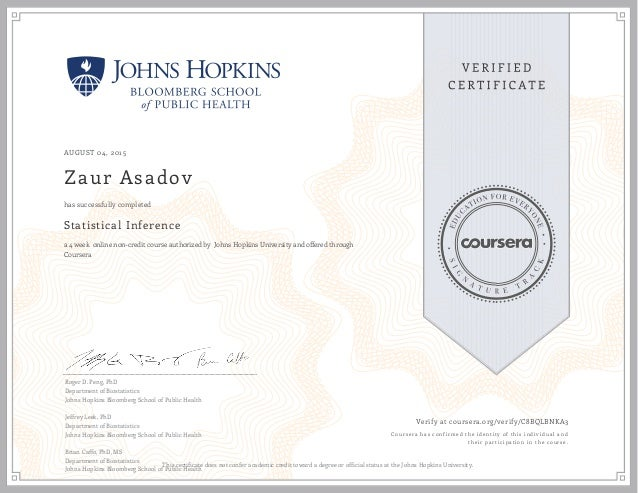 Certificate Johns Hopkins Bloomberg School Of Public