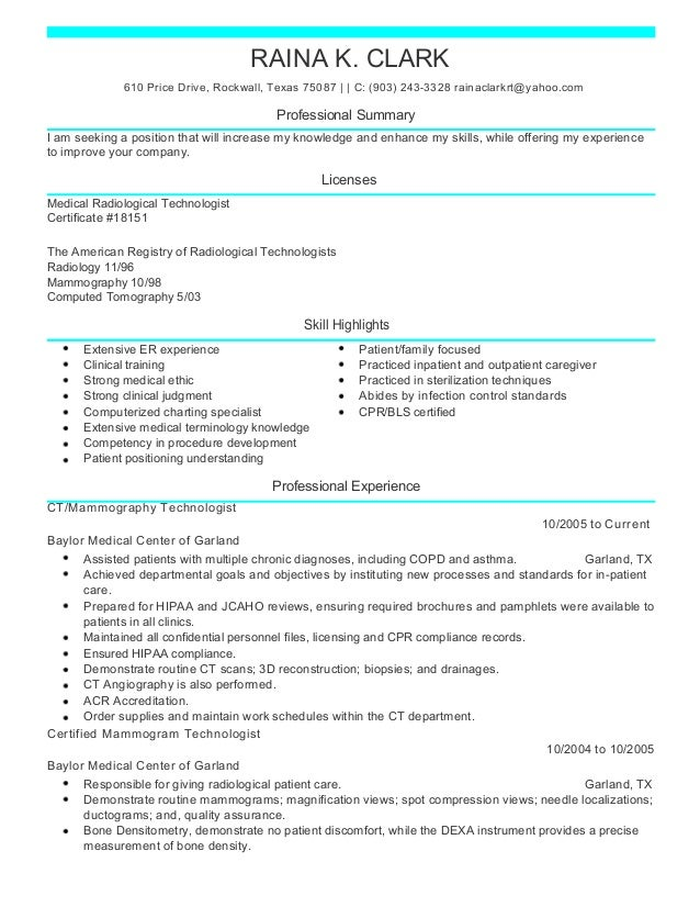 raina ct medical resume