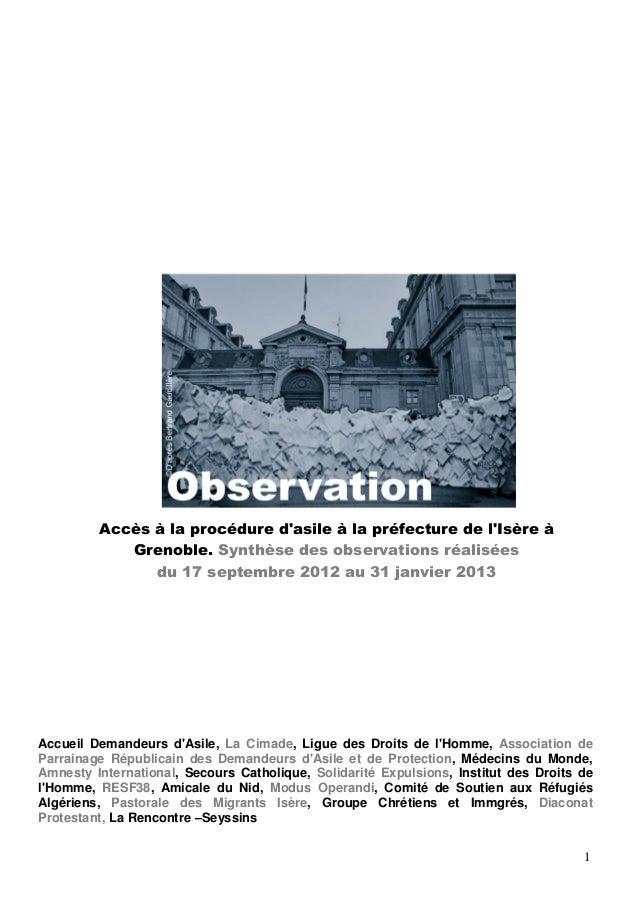 Accès à la procédure dasile à la préfecture de lIsère à            Grenoble. Synthèse des observations réalisées          ...