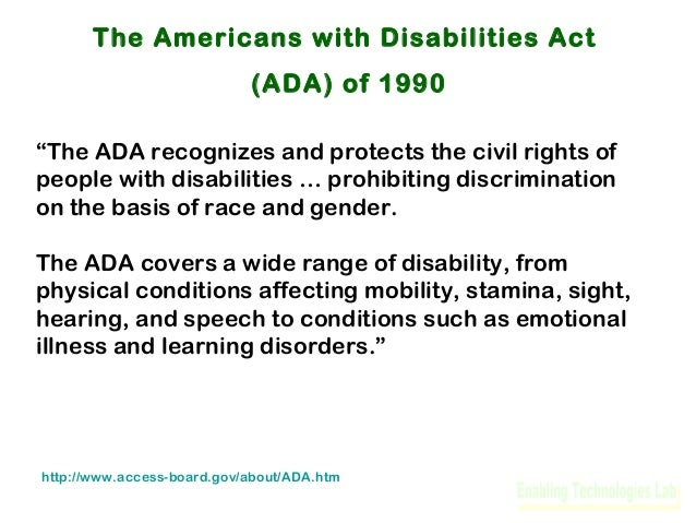 overview of the american disabilities act ada This article examines the americans with disabilities act (ada) 20 years after its  passage it provides an overview of the history and major.