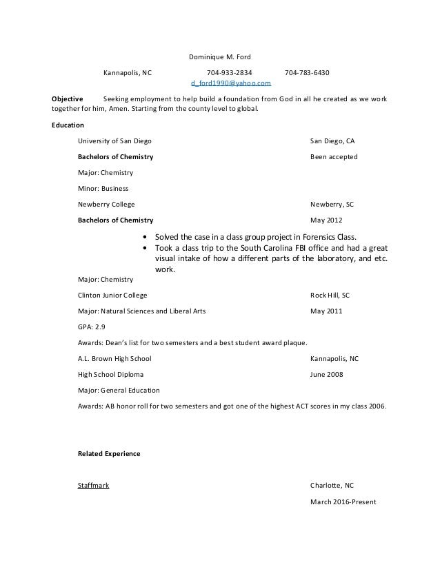 dominique m ford u0026 39 s resume 2016 october 2 2016