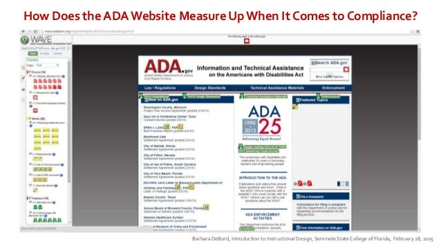 How Does the ADA Website Measure Up When It Comes to Compliance? Barbara DeBord, Introduction to Instructional Design, Sem...