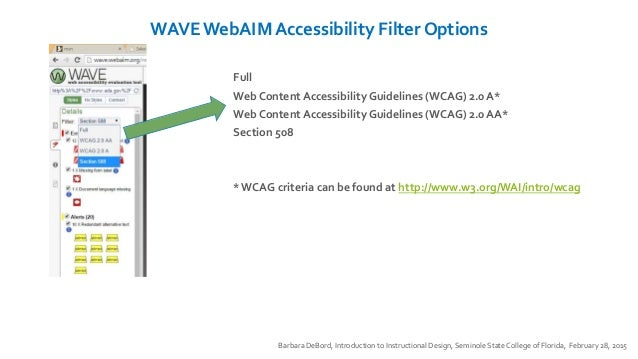 WAVE WebAIM Accessibility Filter Options Barbara DeBord, Introduction to Instructional Design, Seminole State College of F...