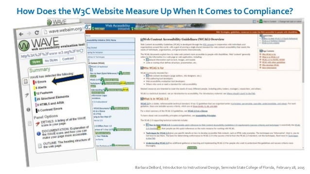 How Does the W3C Website Measure Up When It Comes to Compliance? Barbara DeBord, Introduction to Instructional Design, Sem...