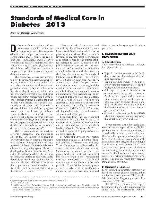 Standards of Medical Care inDiabetesd2013AMERICAN DIABETES ASSOCIATIONDiabetes mellitus is a chronic illnessthat requires ...