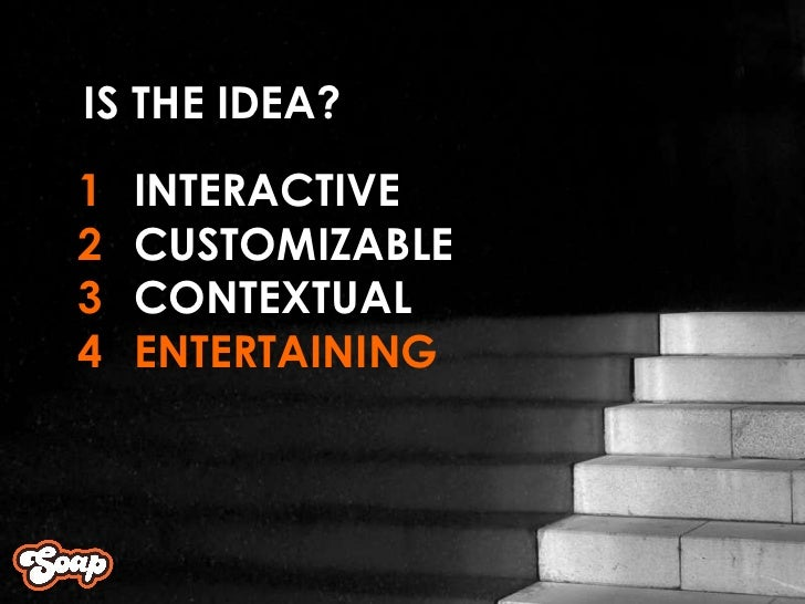 INTERACTIVE CUSTOMIZABLE CONTEXTUAL ENTERTAINING 1 2 3 4 IS THE IDEA?