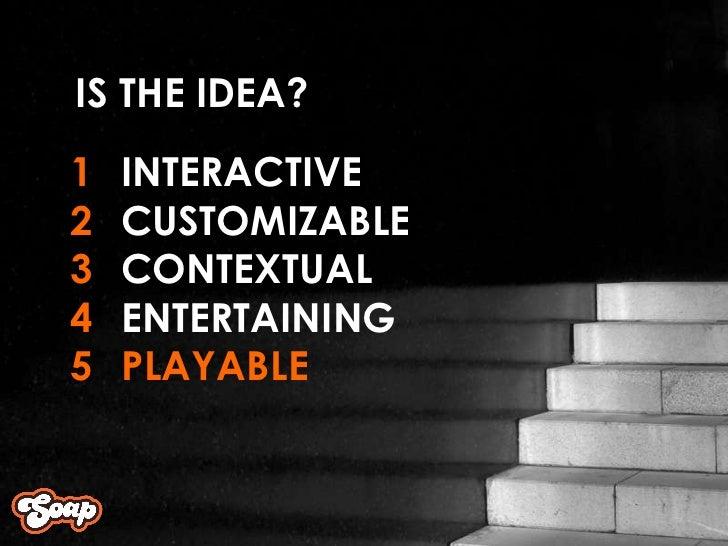 INTERACTIVE CUSTOMIZABLE CONTEXTUAL ENTERTAINING PLAYABLE 1 2 3 4 5 IS THE IDEA?