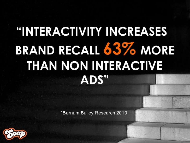 """ INTERACTIVITY INCREASES BRAND RECALL  63%  MORE THAN NON INTERACTIVE ADS"" * B arnum  S ulley Research 2010"