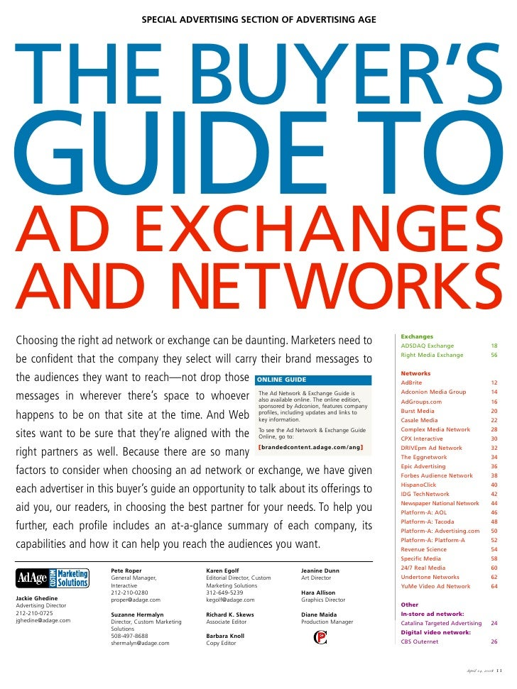 SPECIAL ADVERTISING SECTION OF ADVERTISING AGE     THE BUYER'S GUIDE TO AD EXCHANGES AND NETWORKS                         ...