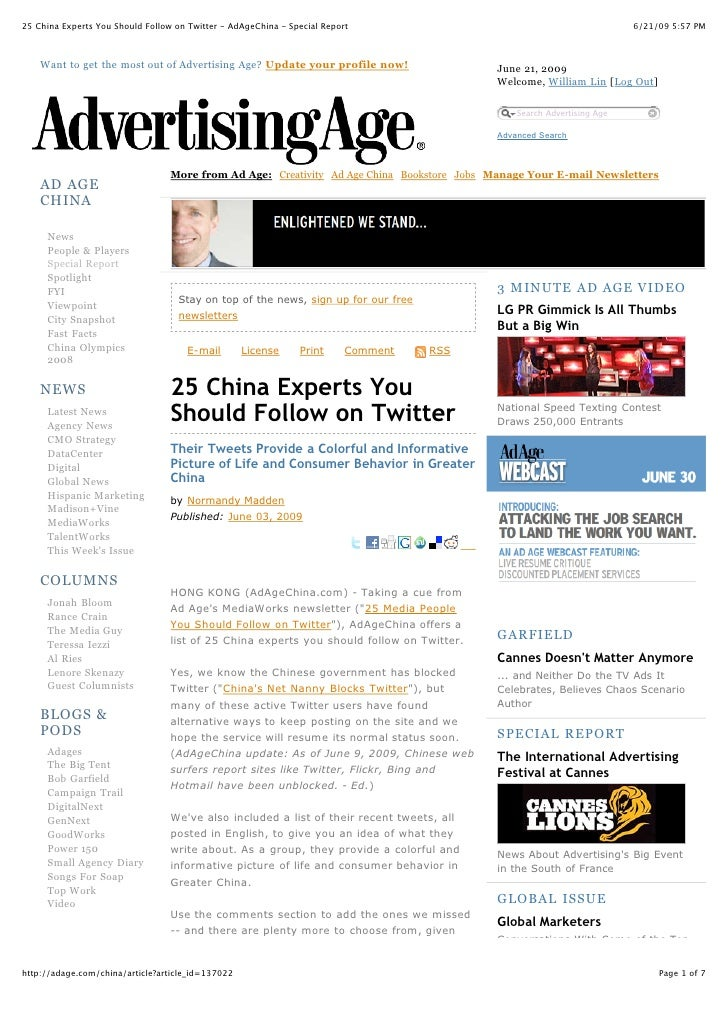 25 China Experts You Should Follow on Twitter - AdAgeChina - Special Report                                               ...