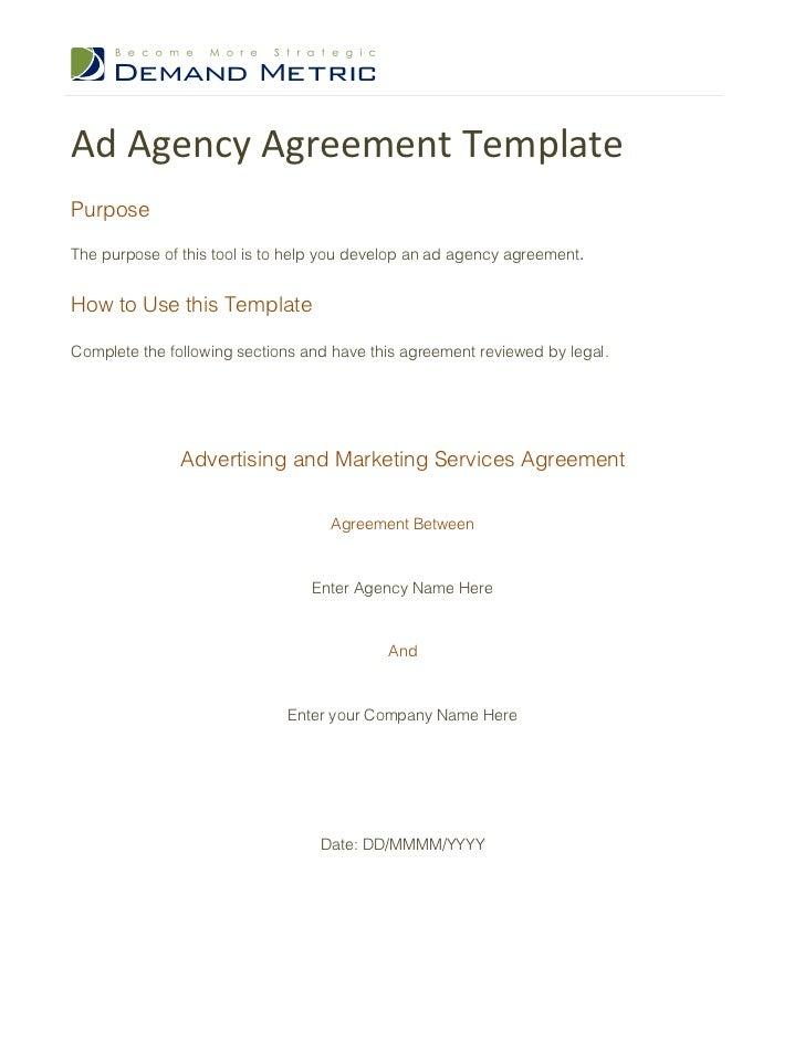 Ad Agency Agreement TemplatePurposeThe purpose of this tool is to help you develop an ad agency agreement.How to Use this ...