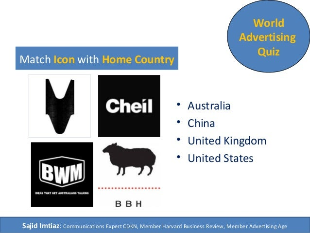 Match Icon with Home Country • Australia • China • United Kingdom • United States World Advertising Quiz Sajid Imtiaz: Com...