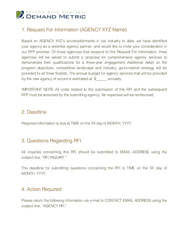 Ad Agency Request For Information