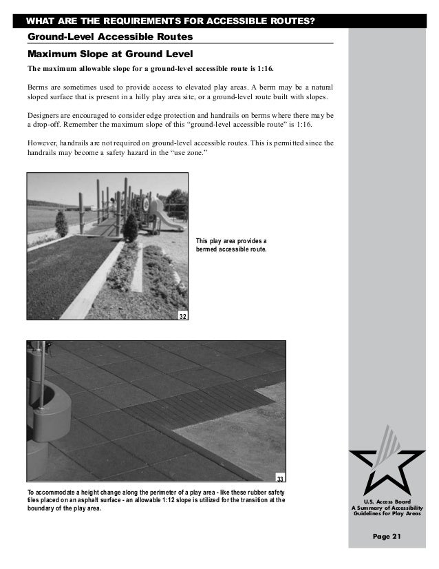 Ada Guide To Accesibility Guidelines For Play Areas Usa 2005