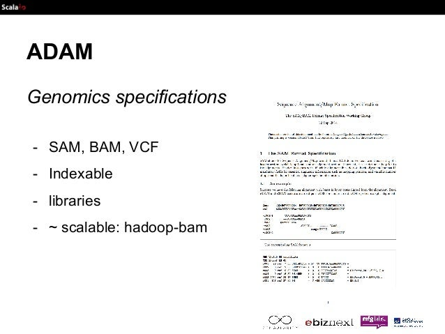 ADAM  Genomics specifications  - SAM, BAM, VCF  - Indexable  - libraries  - ~ scalable: hadoop-bam