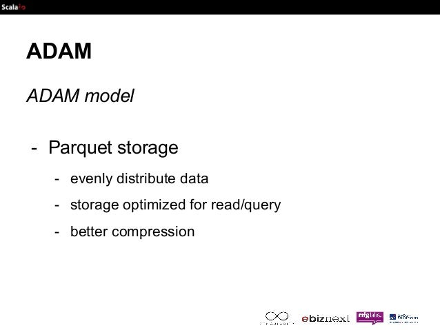 ADAM  ADAM model  - Parquet storage  - evenly distribute data  - storage optimized for read/query  - better compression