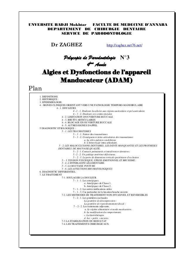 UNVERSITE BADJI Mokhtar FACULTE DE MEDECINE D'ANNABA DEPARTEMENT DE CHIRURGIE DENTAIRE SERVICE DE PARODONTOLOGIE Dr ZAGHEZ...