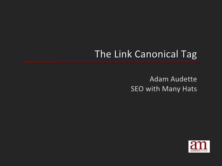 The Link Canonical Tag Adam Audette SEO with Many Hats
