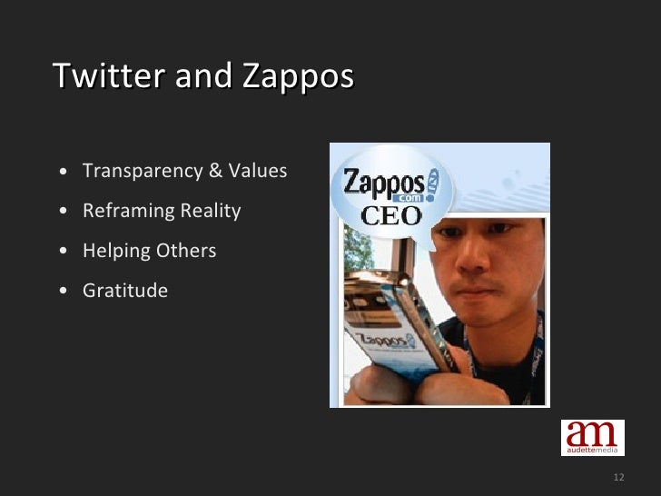 Twitter and Zappos <ul><li>Transparency & Values </li></ul><ul><li>Reframing Reality </li></ul><ul><li>Helping Others </li...