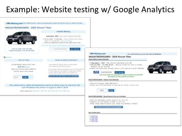 Example: Website testing w/ Google Analytics