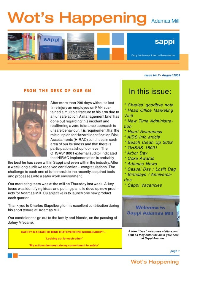Issue No 2 - August 2009             FROM THE DESK OF OUR GM                                           In this issue:     ...