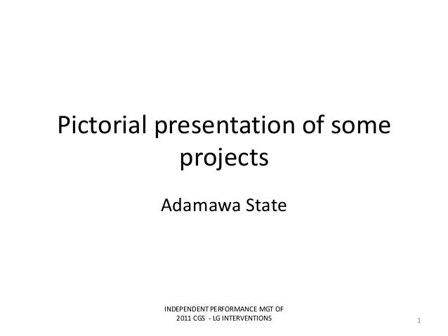 Pictorial presentation of someprojectsAdamawa StateINDEPENDENT PERFORMANCE MGT OF2011 CGS - LG INTERVENTIONS 1