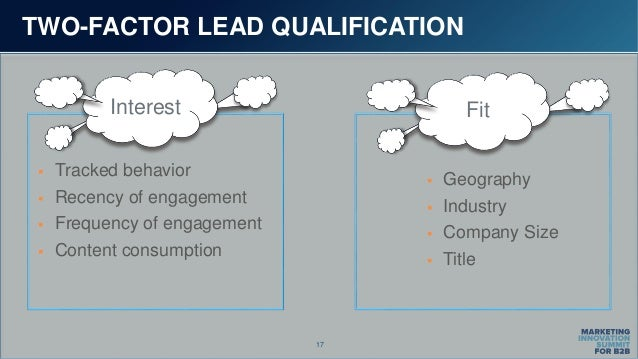 17 TWO-FACTOR LEAD QUALIFICATION  Tracked behavior  Recency of engagement  Frequency of engagement  Content consumptio...