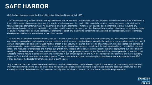 SAFE HARBOR Safe harbor statement under the Private Securities Litigation Reform Act of 1995: This presentation may contai...