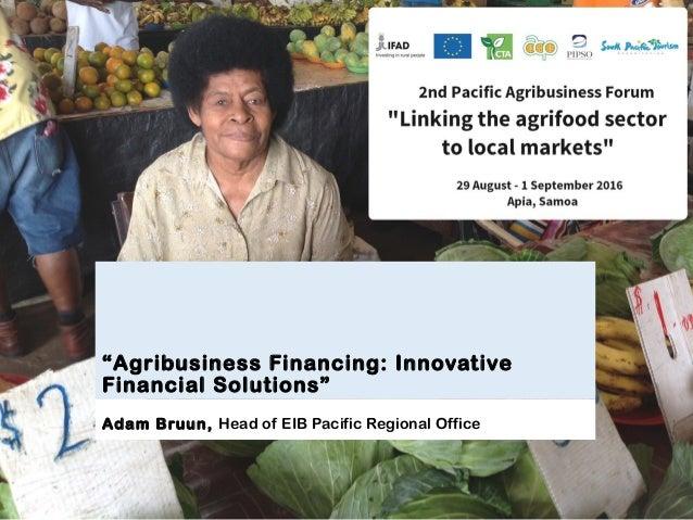 """Agribusiness Financing: Innovative Financial Solutions"" Adam Bruun, Head of EIB Pacific Regional Office"
