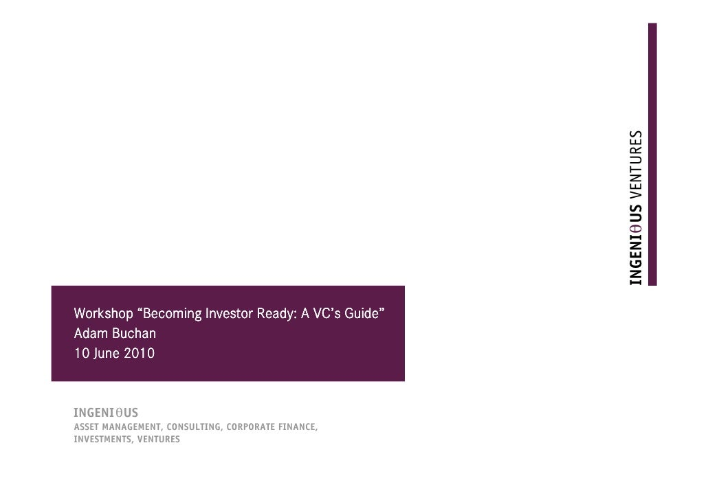 """abcrs                                      VC' Guide"""" Workshop """"Becoming Investor Ready: A VC's Guide"""" Adam Buchan 10 June..."""