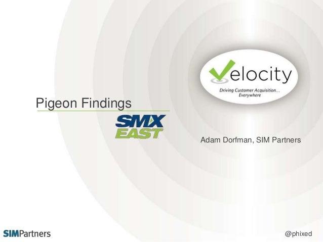 Pigeon Findings  Adam Dorfman, SIM Partners  @phixed