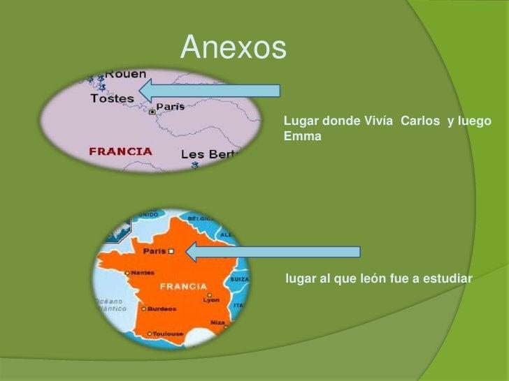 Anexos<br />Lugar donde Vivía  Carlos  y luego Emma<br />lugar al que león fue a estudiar <br />