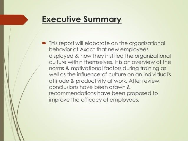 internship report exploring the organizational culture Two-credit internship reports should be at least five pages in length (not including appendix) your report will be divided into four major chapters: summary of the facts: this gives the reader a brief profile of the agency, company or organization for which you worked.